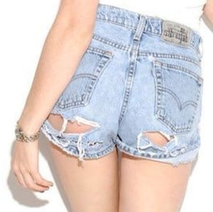 Vintage Levi Distressed Torn Cheeky Denim Shorts